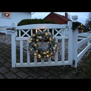 Granriskrans, 50cm, frostad 30 st LED-ljus, konstgjord-6189