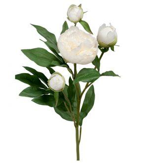 Pion, vit med knoppar, konstgjord blomma-0