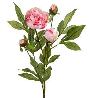 Pion, ljusrosa med knoppar, konstgjord blomma-0