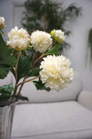 Dahlia med knopp, konstgord blomma, cream/vit-0