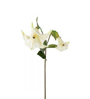 Änglatrumpet, vit konstgjord blomma med hängande stora klockor-0