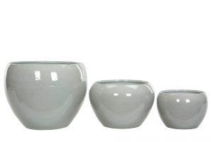 Kruka, emaljerad, ljusgrå, metall L-0
